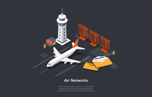 Air Network Concept. Set Of Airport Control Tower, Airplane On Runway, Correspondance Letters, Forklift And Containers With Cargo. Colorful 3d Isometric Vector Illustration On Dark Gray Background
