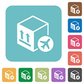 Air package transportation rounded square flat icons