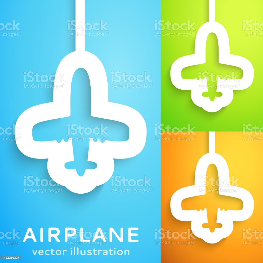 Air plane cut out of paper on color background. royalty-free stock vector art