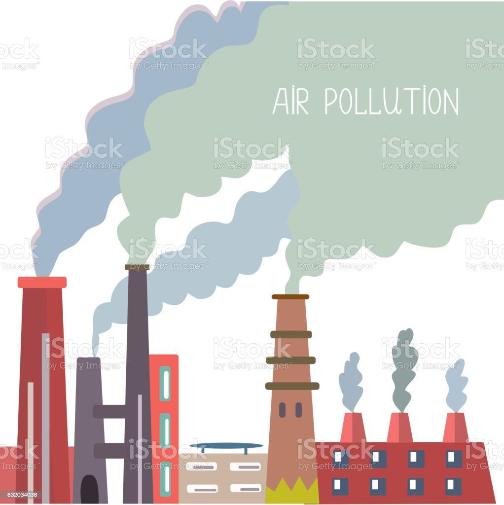 Air pollution background with pipes, vector graphic illustration vector art illustration