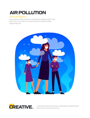 Air Pollution Concept for Posters, Covers and Banners. Modern Flat Design Vector Illustration.