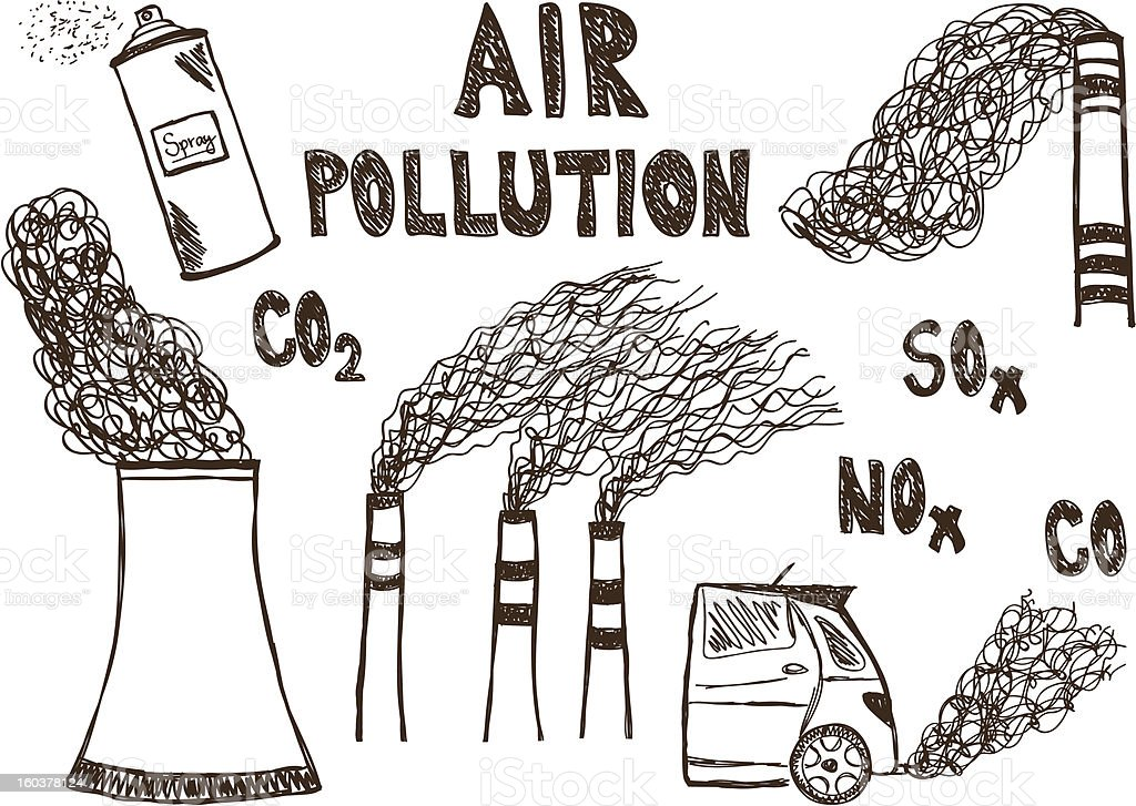 Air pollution doodle royalty-free stock vector art
