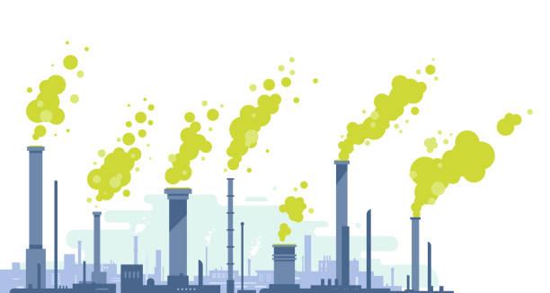 luftverschmutzung durch industriedrohre - kamin stock-grafiken, -clipart, -cartoons und -symbole
