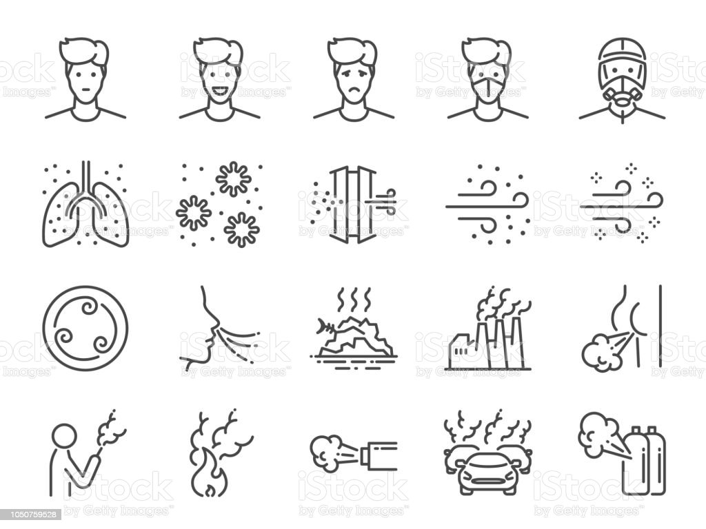 Air pollution line icon set. Included icons as smoke, smell, pollution, factory, dust and more. vector art illustration