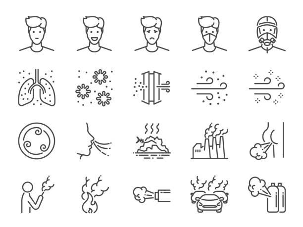 Air pollution line icon set. Included icons as smoke, smell, pollution, factory, dust and more. Air pollution line icon set. Included icons as smoke, smell, pollution, factory, dust and more. inhaling stock illustrations