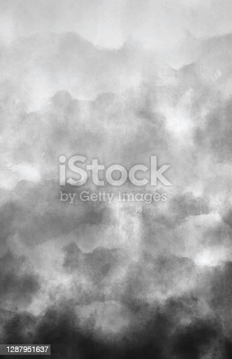 Air Pollution Smoke Gray Clouds Watercolor Abstract Background with Copy Space. Monochromatic Vector Illustration.