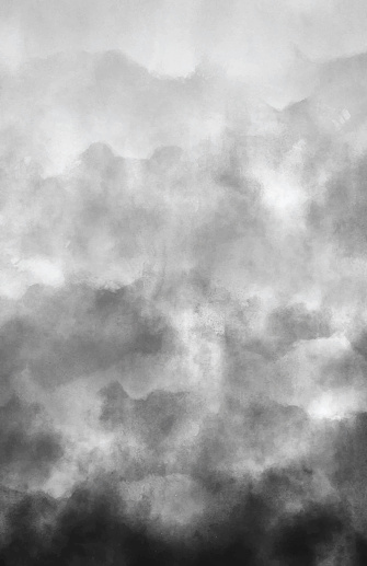 Air Pollution Smoke Gray Clouds Watercolor Grunge Abstract Background with Copy Space