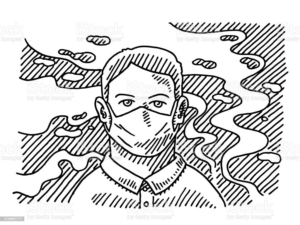 Air pollution surgical mask man drawing stock illustration