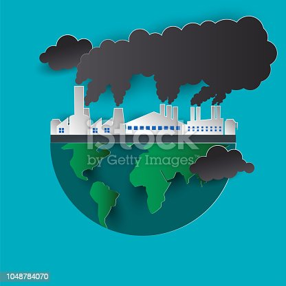 polluting air from factory pipe and cesspit, environmental for pollution concept. vector illustration