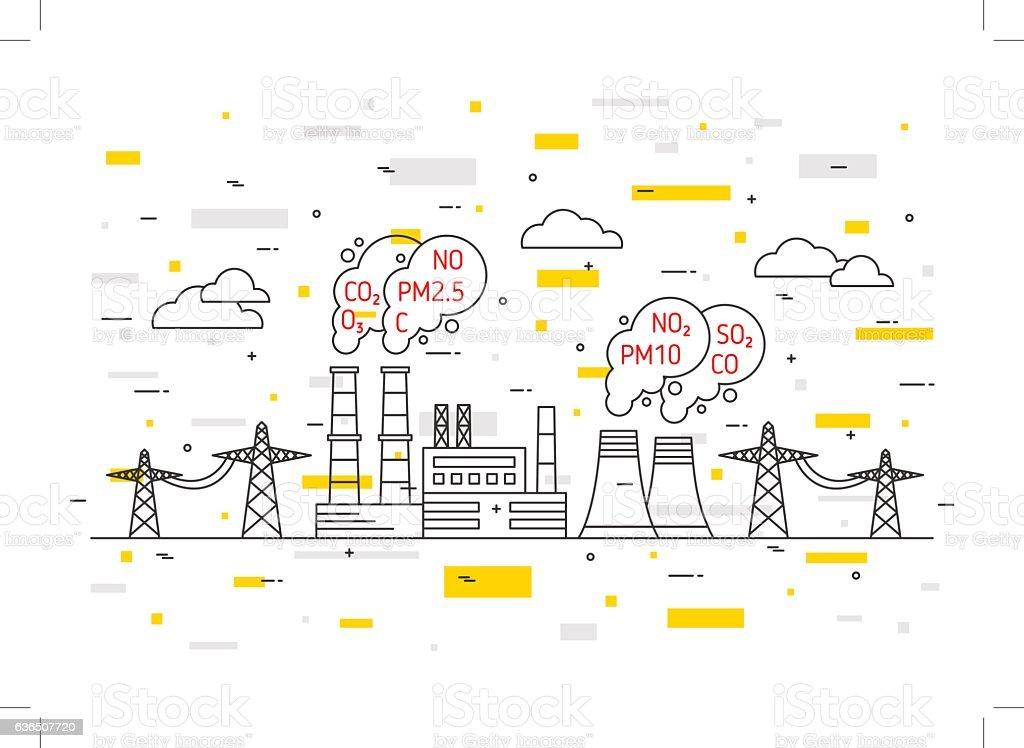 Air pollution vector illustration vector art illustration