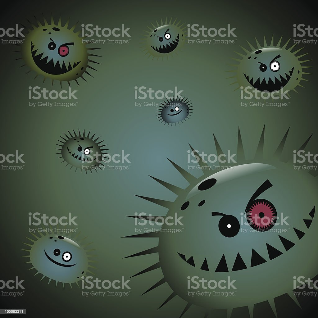 Air Pollution - Virus and Germs vector art illustration