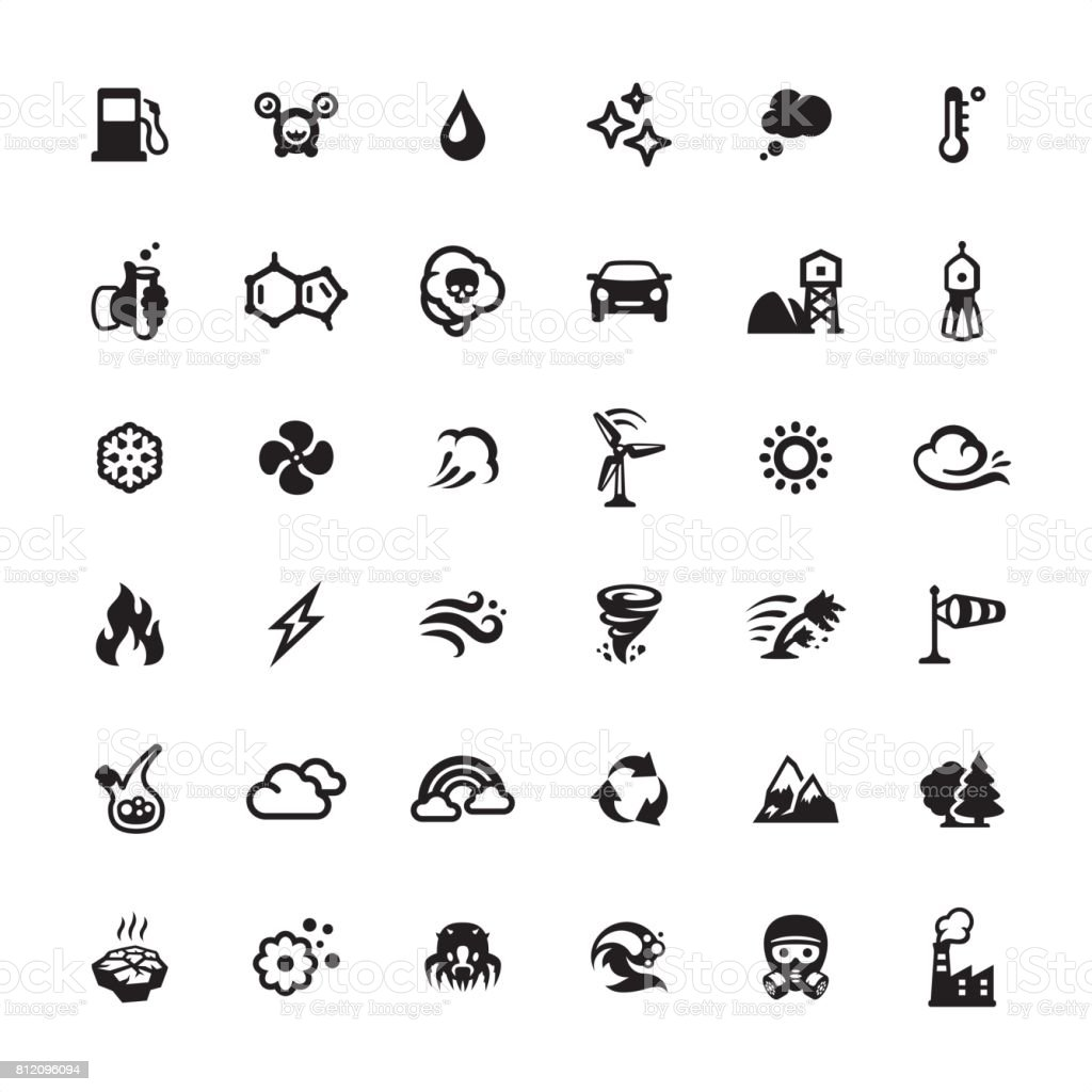 Conjunto de ícones de purificador de ar e poluição - ilustração de arte em vetor