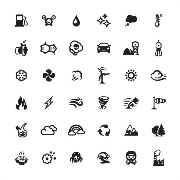 stockillustraties, clipart, cartoons en iconen met zuiveringsinstallatie van de lucht en vervuiling pictogrammen instellen - bloemen storm