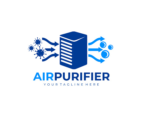 Air purifier for filter and cleaning removing dust and virus, fresh air, design. Air conditioner, air filtration and purification for virus protection and particles, vector design and illustration