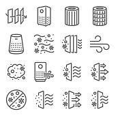 istock Air purifier icon illustration vector set. Contains such icons as Dust, Oxygen, Anti-bacteria, Air pollution, pm 2.5, Air filter, and more. Expanded Stroke 1294458636