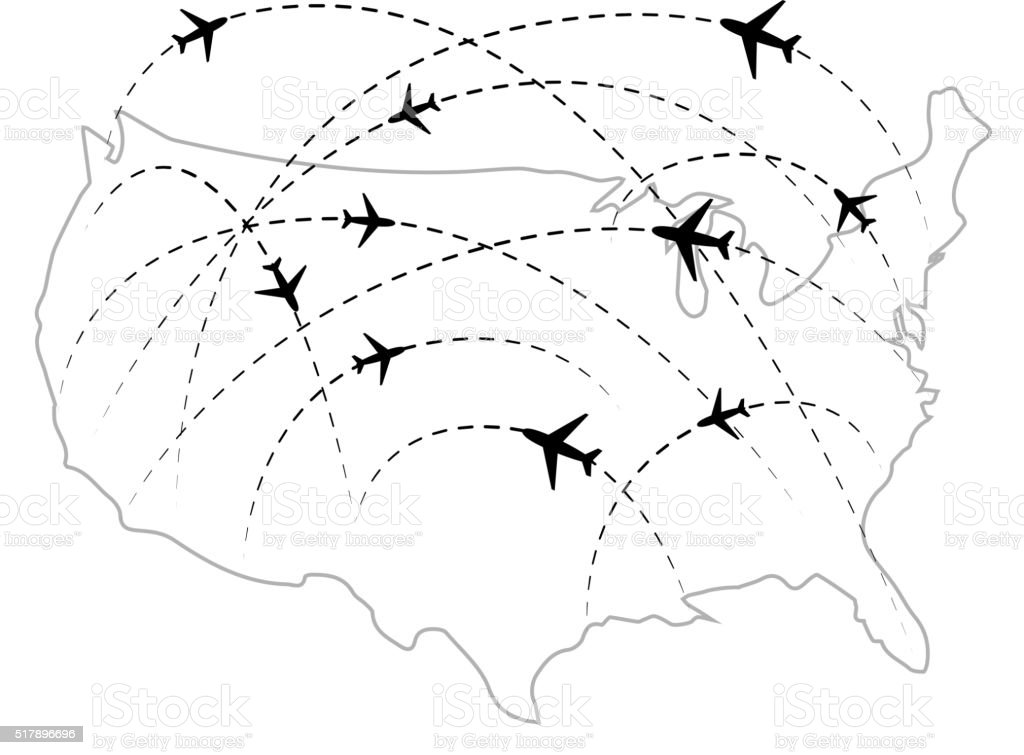 Air routes with black plane icons on USA map vector art illustration