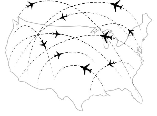 Air routes with black plane icons on USA map Air routes with black plane icons on USA map isolated on white aviation and environment summit stock illustrations