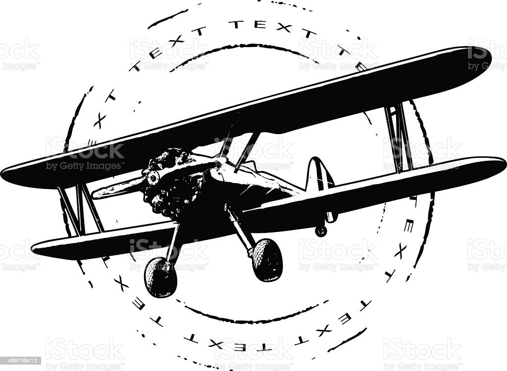 air seal with plane and grunge circle vector art illustration