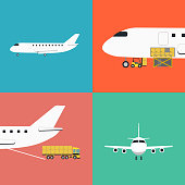 Air shipping and logistics icon set