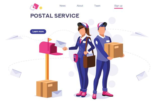 air shipping person post mail - postal worker stock illustrations