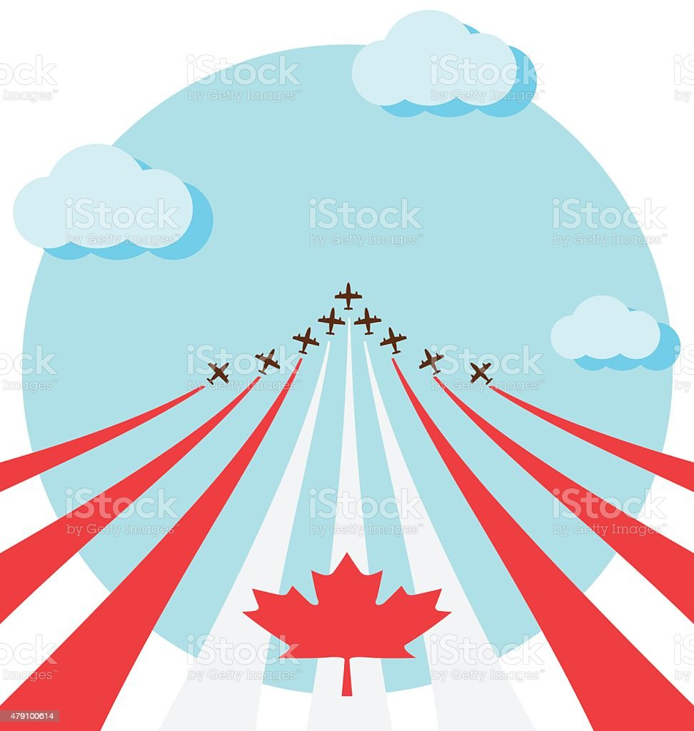Air show for the national day of Canada vector art illustration
