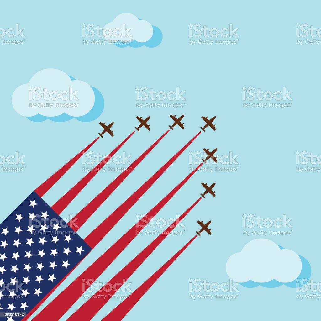 Air show op het skye voor vieren van de nationale dag van Verenigde Staten royalty free air show op het skye voor vieren van de nationale dag van verenigde staten stockvectorkunst en meer beelden van abstract