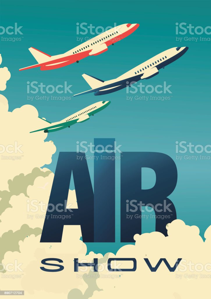 air show poster airplane vector art illustration