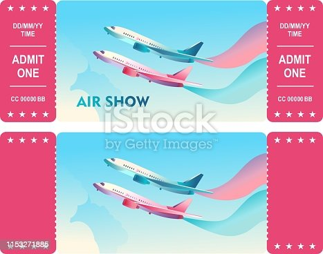 two sides of horizontal vector ticket template for airshow or air travel, isolated illustration with sky and passenger and cargo aircraft