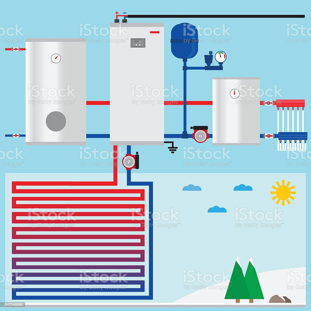 Air Source Heat Pump In The Cottage Vector Stock Vector Art & More ...