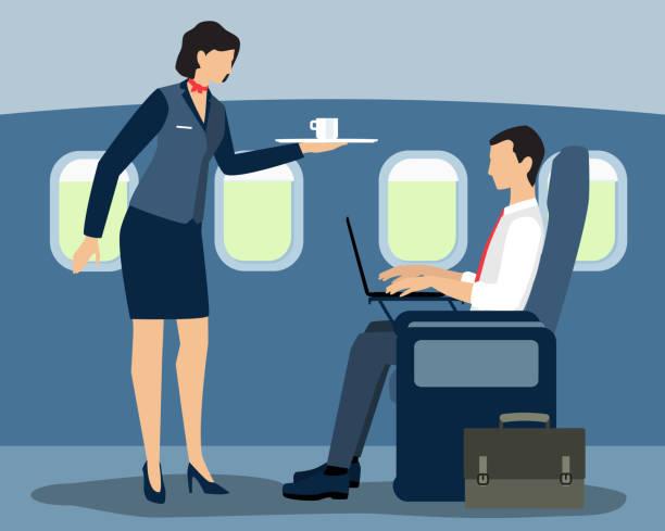 stockillustraties, clipart, cartoons en iconen met lucht-stewardess serveert eersteklas passagier platte vectorillustratie - stewardess