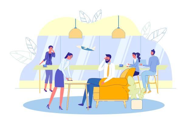 ilustrações, clipart, desenhos animados e ícones de air terminal passengers vip hall com viajantes. - salas de aula