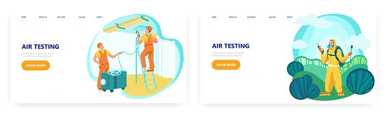Air testing landing page design, website banner vector template set. Air quality testing inside the room and outside.