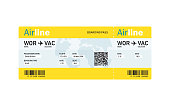 Air ticket by plane with text
