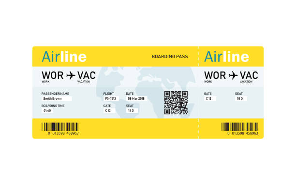 air ticket by plane with text - airplane ticket stock illustrations