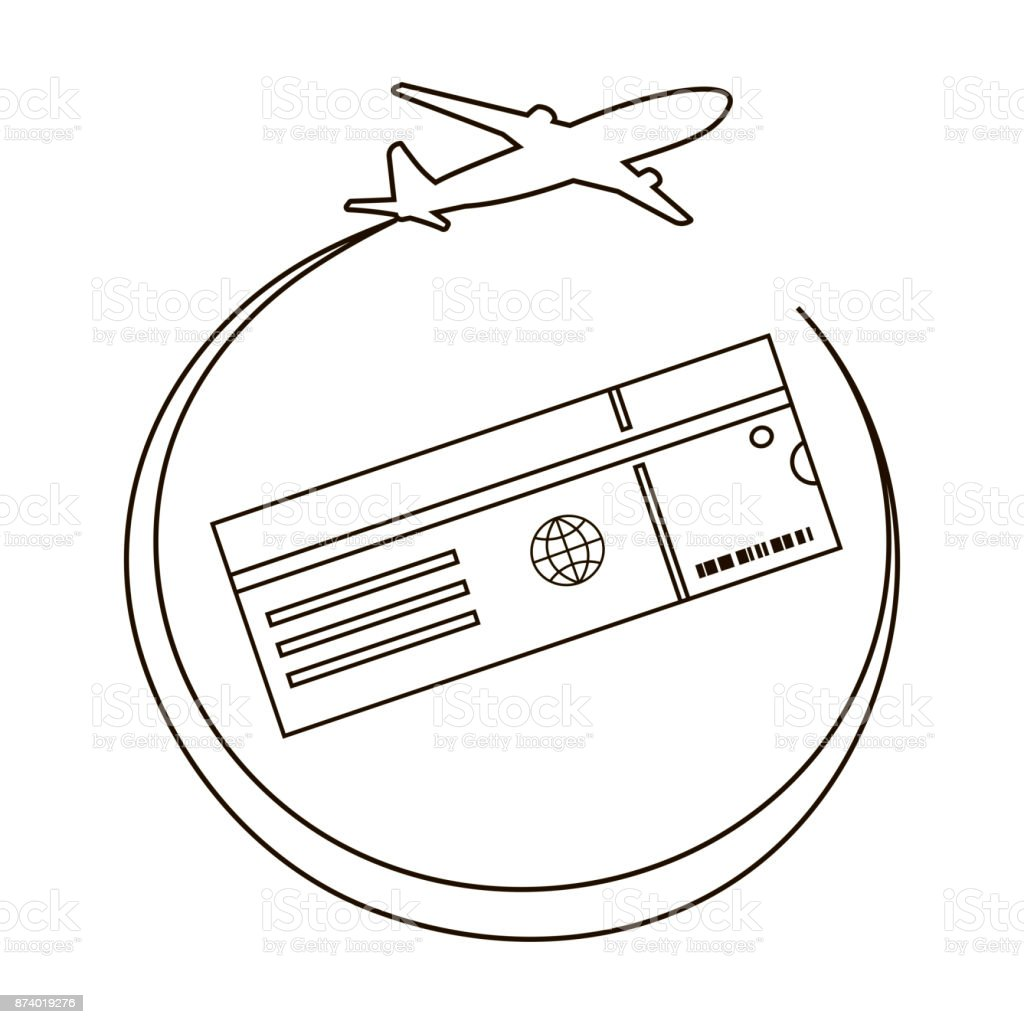 Air Ticket Line Icon vector art illustration