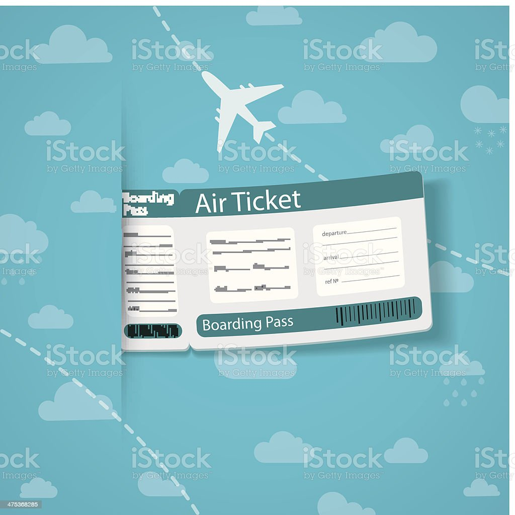 Air ticket on sky background. royalty-free stock vector art