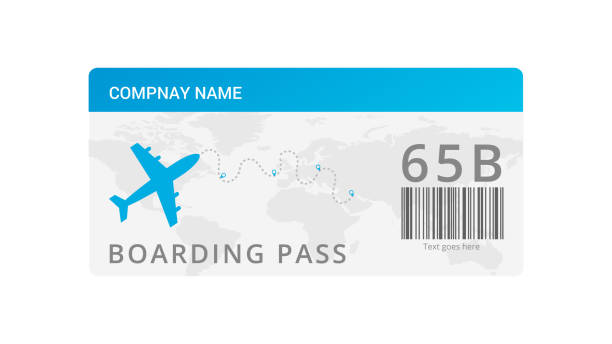 air ticket template vector - airplane ticket stock illustrations
