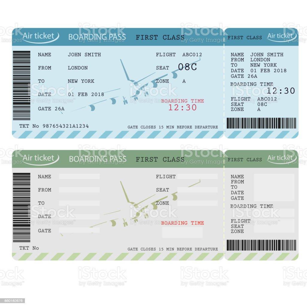 Luft-Ticket mit Barcode, Airline, die Bordkarte. Vektor – Vektorgrafik