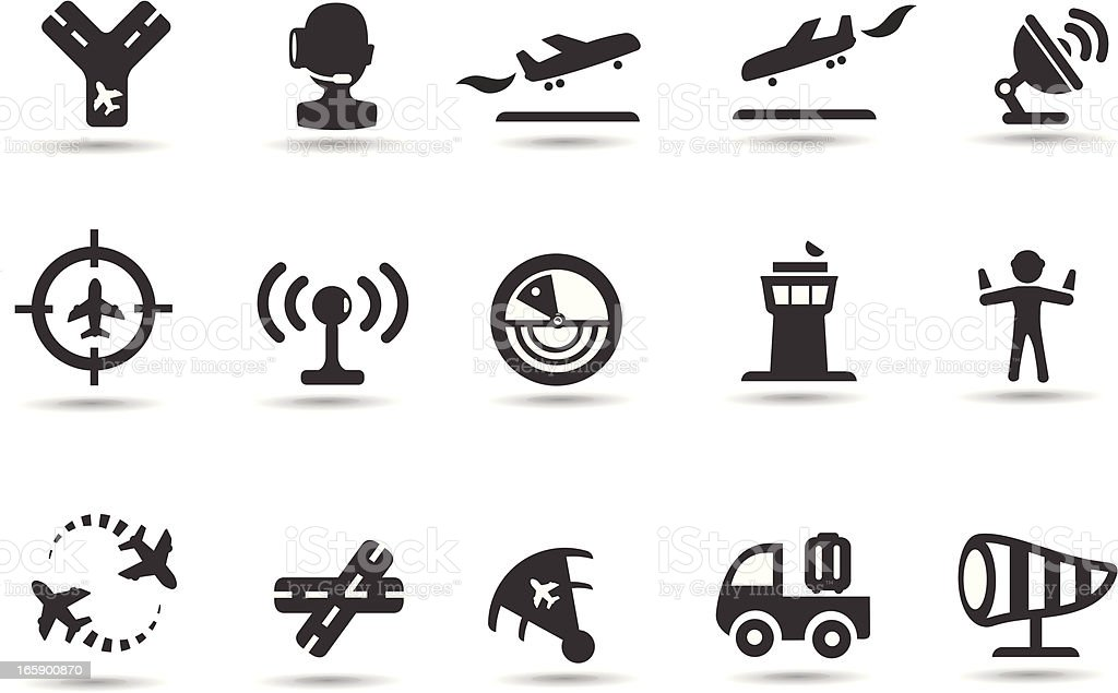 Air Traffic Control Icons vector art illustration