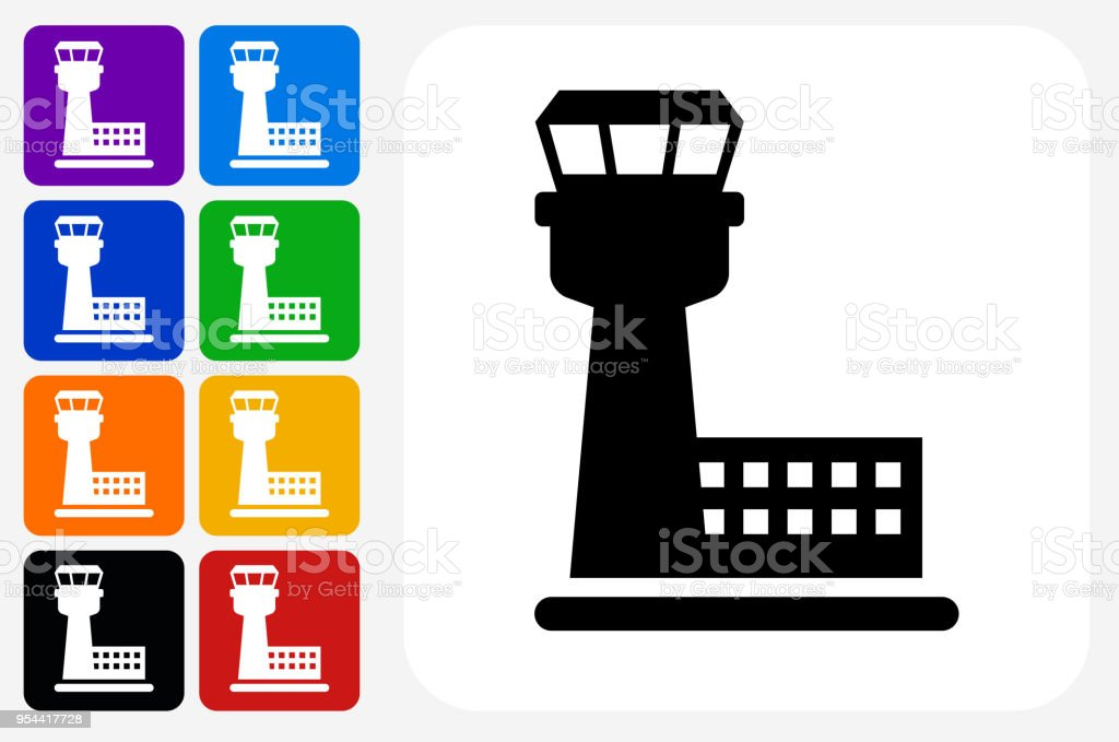 Air Traffic Control Tower Icon Square Button Set Stock Illustration