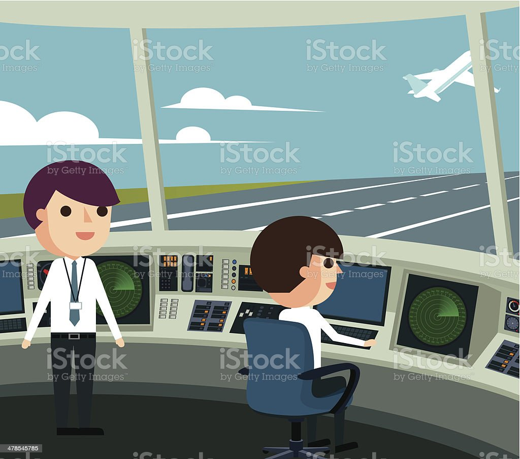 Air Traffic Control Tower vector art illustration