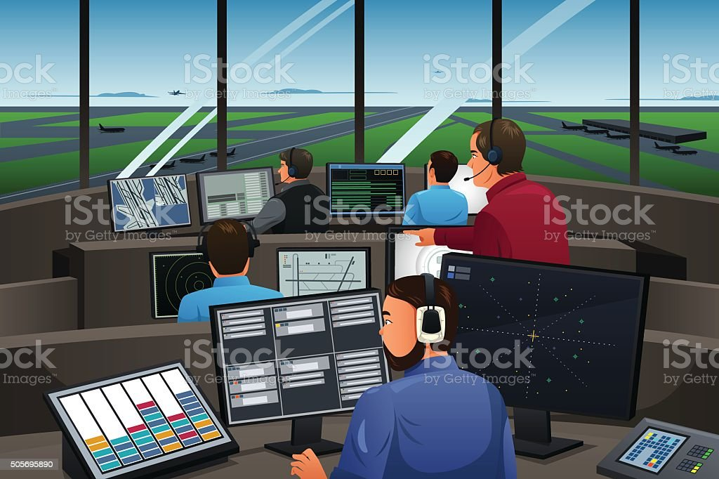 Air Traffic Controller Working in the Airport vector art illustration