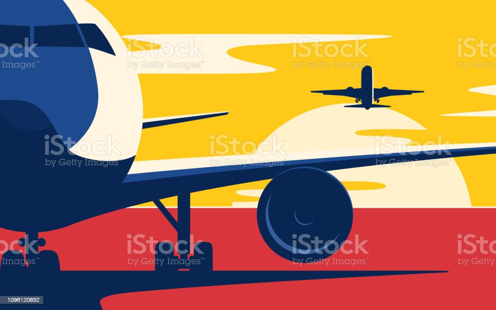 Air traffic. Flat style vector illustration of the airliners at sunset. vector art illustration