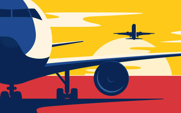 air traffic. flat style vector illustration of the airliners at sunset. - airport stock illustrations