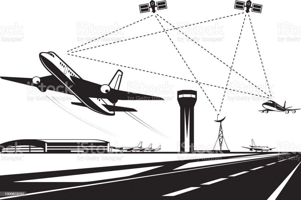 Air traffic management Air traffic management - vector illustration Air Traffic Control Tower stock vector