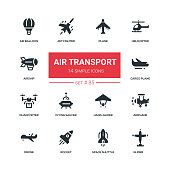 Air transport - flat design style icons set. high quality image. Plane, helicopter, airship, balloon, jet fighter, cargo, quadcopter, flying saucer, hang glider, drone, rocket, space shuttle, airplane