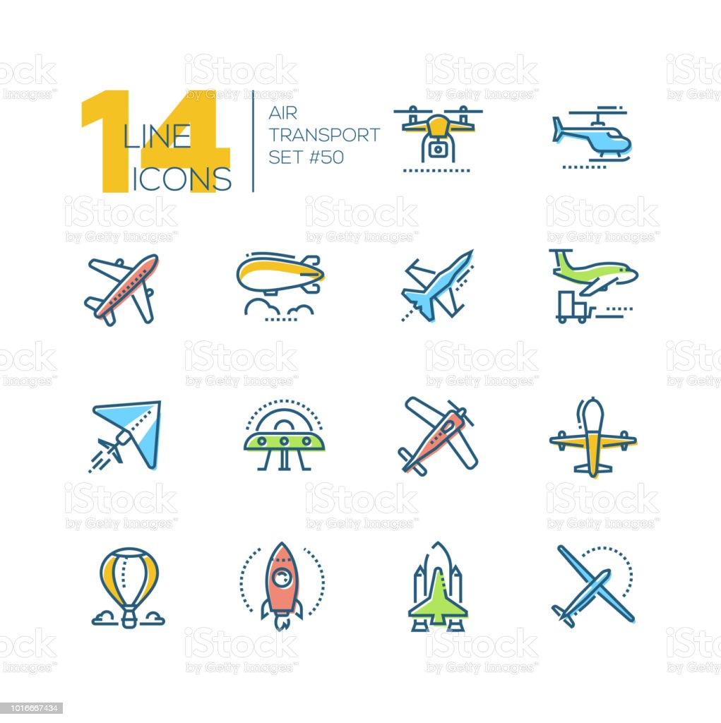 Transport aérien - ligne design icônes set - Illustration vectorielle