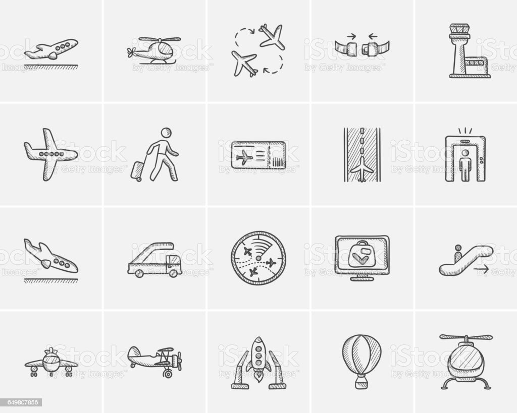 Air transport sketch icon set vector art illustration