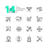 Air transport - thin line design icons set