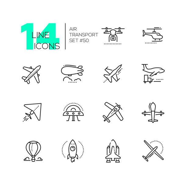 Air transport - thin line design icons set Air transport - thin line design icons set. Black pictograms. Plane, helicopter, airship, balloon, jet fighter, cargo, quadcopter, flying saucer, hang glider, drone, rocket, space shuttle, airplane private airplane stock illustrations